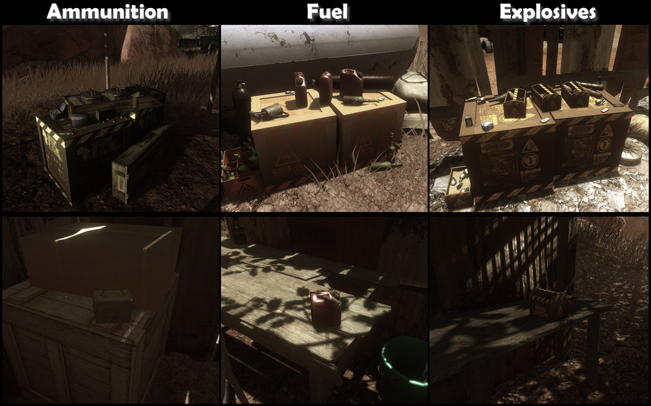 Ammunition, fuel and explosives piles and batches (Click image or link to go back)