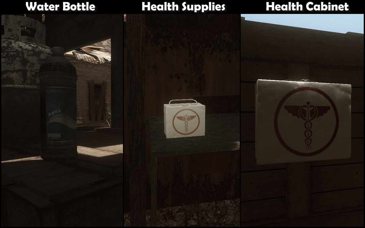 Water bottle, health supplies and health cabinet (Click image or link to go back)