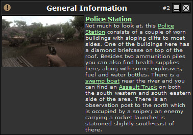 The information box provides detailed information about a specific item or area (Click image or link to go back)
